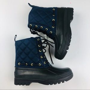 New Sperry lined rubber quilted navy snow boots 6